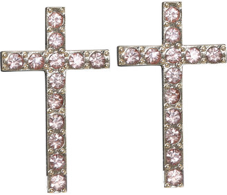Wet Seal Rhinestone Cross Button Earring