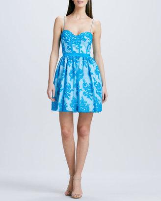 Aidan Mattox Spaghetti-Strap Lace Cocktail Dress