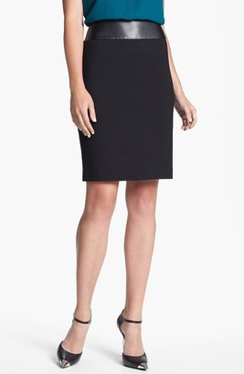 Chaus Faux Leather Waist Pencil Skirt