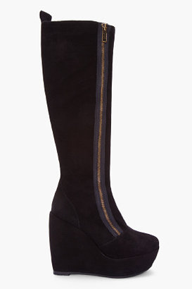 Marc by Marc Jacobs Black Suede Wedge Boots