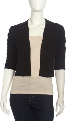 Neiman Marcus Ribbed Ruched-Sleeve Cardigan, Black