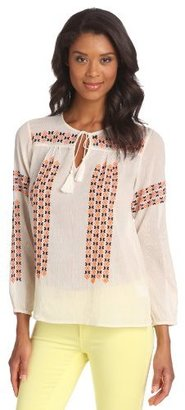 Joie Women's Nira Geo Native Stripe Embroidered Peasant Top