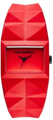 Karl Lagerfeld 'Perspektive' Pyramid Rubber Strap Watch, 32mm x 24mm