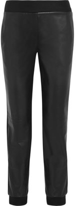 Reed Krakoff Felt-trimmed leather tapered pants