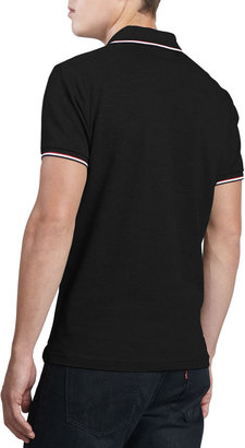 Moncler Tipped Logo Polo, Black