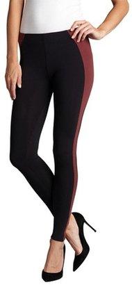 Wyatt oxblood and black stretch colorblock leggings