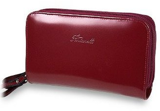 Fontanelli Burgundy Polished Calf Leather Zip Wallet
