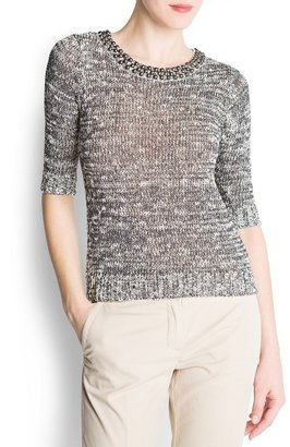 MANGO Metal embellished collar sweater