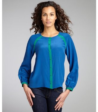 Geren Ford azure and kelly green silk chiffon 'Sylvie Oxford' blouse