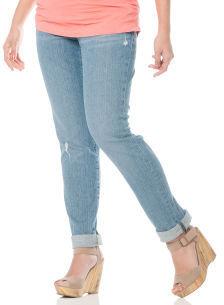 Motherhood Indigo Blue Secret Fit Belly® Roll Hem Straight Leg Maternity Crop Jeans