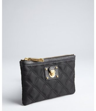 Marc Jacobs black quilted nylon zip flat pouch