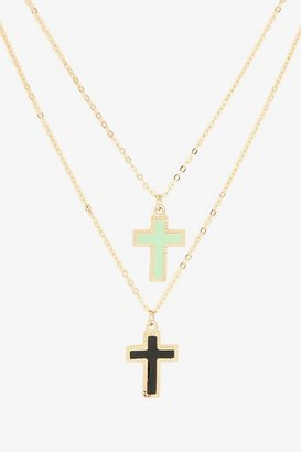 Black & Mint Cross Gold Necklace Set