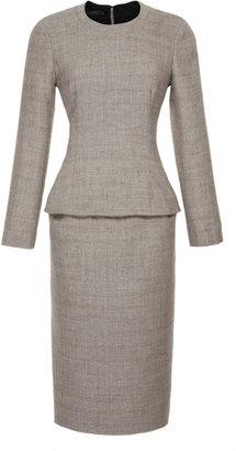Calvin Klein Collection Belted Wool-Blend Peplum Dress