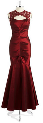 Xscape Evenings Ruched Taffeta and Lace Mermaid Gown