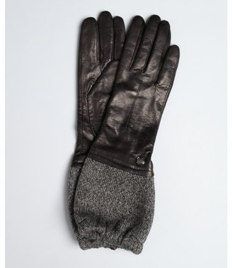Vince Camuto black leather knit slouchy cuff gloves
