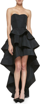 Alexis Leros Silk Ruffled Strapless High-Low Dress