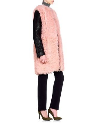 Cédric Charlier Rose Shearling Leather Coat