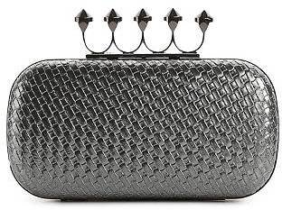 Townsend Lulu Woven Metallic Spike Handle Box Clutch