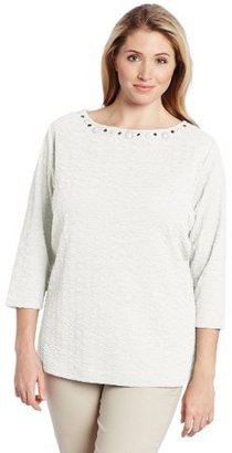 Sag Harbor Women's Plus-Size 3/4 Sleeve Textured Knit Top with Embellishment