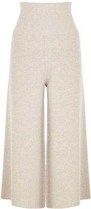 Stella McCartney Oatmeal Wide-leg Wool-blend Trousers