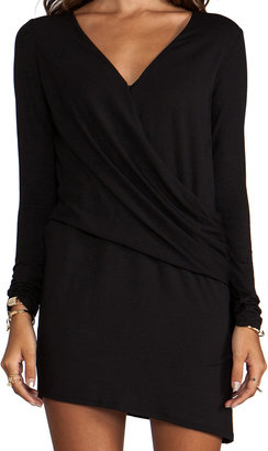 Heather Long Sleeve V Tuck Dress