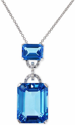 Effy Blue Topaz (16-3/4 ct. t.w.) and Diamond Accent Pendant Necklace in 14k White Gold