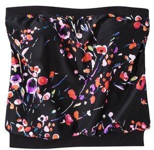Merona Women's Plus-Size Blouson Tankini Swim Top - Black/Pink