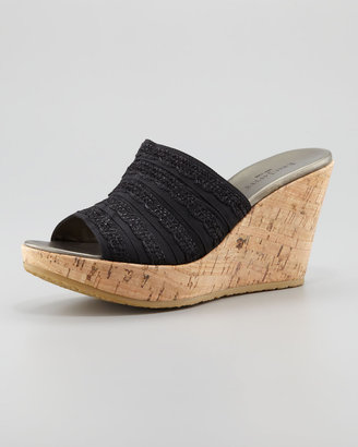 Eric Javits Dame Braided Cork Slide, Black