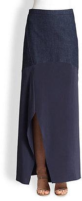 Brunello Cucinelli Denim/Silk Maxi Skirt
