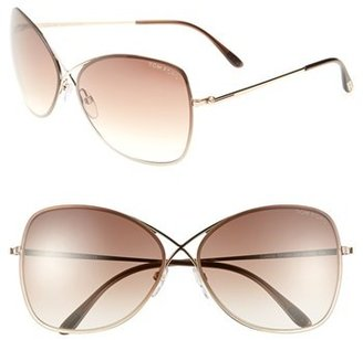 Women's Tom Ford 'Colette' 63Mm Sunglasses - Shiny Rose Gold/ Dark Brown $340 thestylecure.com