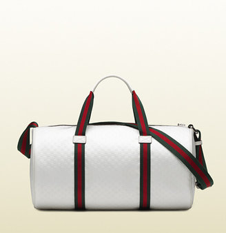 Gucci White Microgucissima Nylon Gym Bag