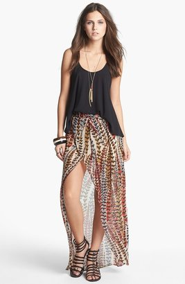 Mimichica Mimi Chica High/Low Print Faux Wrap Skirt (Juniors)