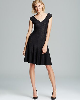 Anne Klein V Neck Textured Knit Fit and Flare Dress - Cap Sleeve