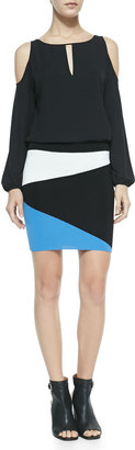 Ronny Kobo Mali Asymmetric Colorblock Mini Skirt, Blue/White/Black
