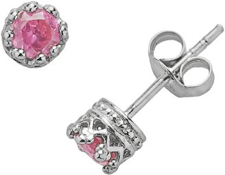 0e2d3a54b Junior Jewels Sterling Silver Lab-Created Pink Sapphire Crown Stud Earrings  - Kids