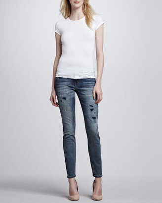 Current/Elliott The Ankle Skinny Jeans, Pixie with Repair Wash