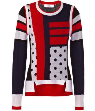 Prabal Gurung Preorder Long Sleeve Intarsia Sweater With Split Hem