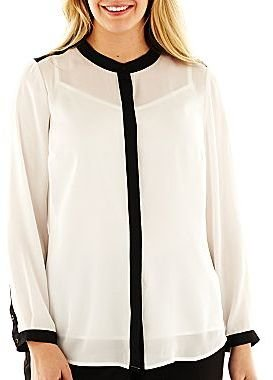 Liz Claiborne Long-Sleeve Mandarin Collar Button-Down Blouse