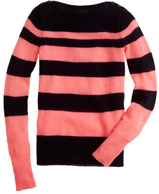 J.Crew Buttoned boatneck sweater in stripe