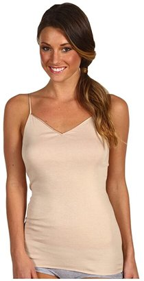 Hanro Cotton Seamless V-Neck Camisole (Black) Women's Underwear