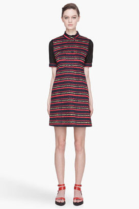 Kenzo Red and navy mesh sleeved day dress