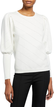 Milly Diagonal Pointelle Knit Puff-Sleeve Top