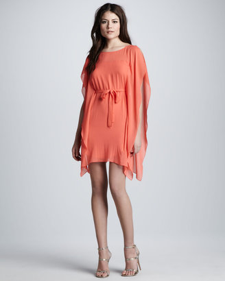 BCBGMAXAZRIA Tie-Front Flutter-Sleeve Dress