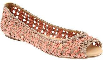 PeepToe Women's Basketweave Peep-Toe Flats