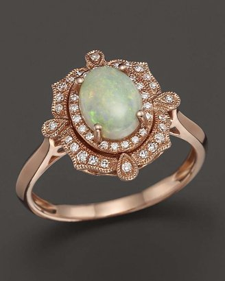 Opal and Diamond Antique Inspired Ring in 14K Rose Gold - 100% Exclusive $1,700 thestylecure.com