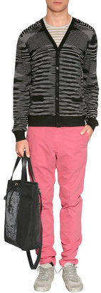 Majestic Khaki/Beige Striped Short Sleeve Linen T-Shirt