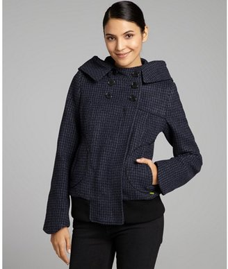 Soia & Kyo blue houndstooth wool blend double breasted hooded 'Filia' active coat