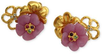 T Tahari Earrings, 14k Gold-Plated Multi-Color Crystal Floral Clip-On Earrings
