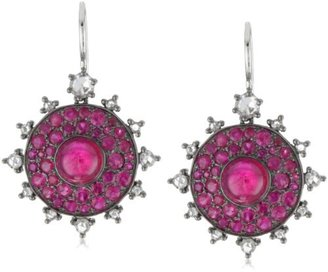 "Nam Cho Bull's Eye"" Lipstick Ruby and Diamond Earrings in 18k White Gold"