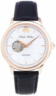 Brooks Brothers Round Watch with Embossed Leather Band